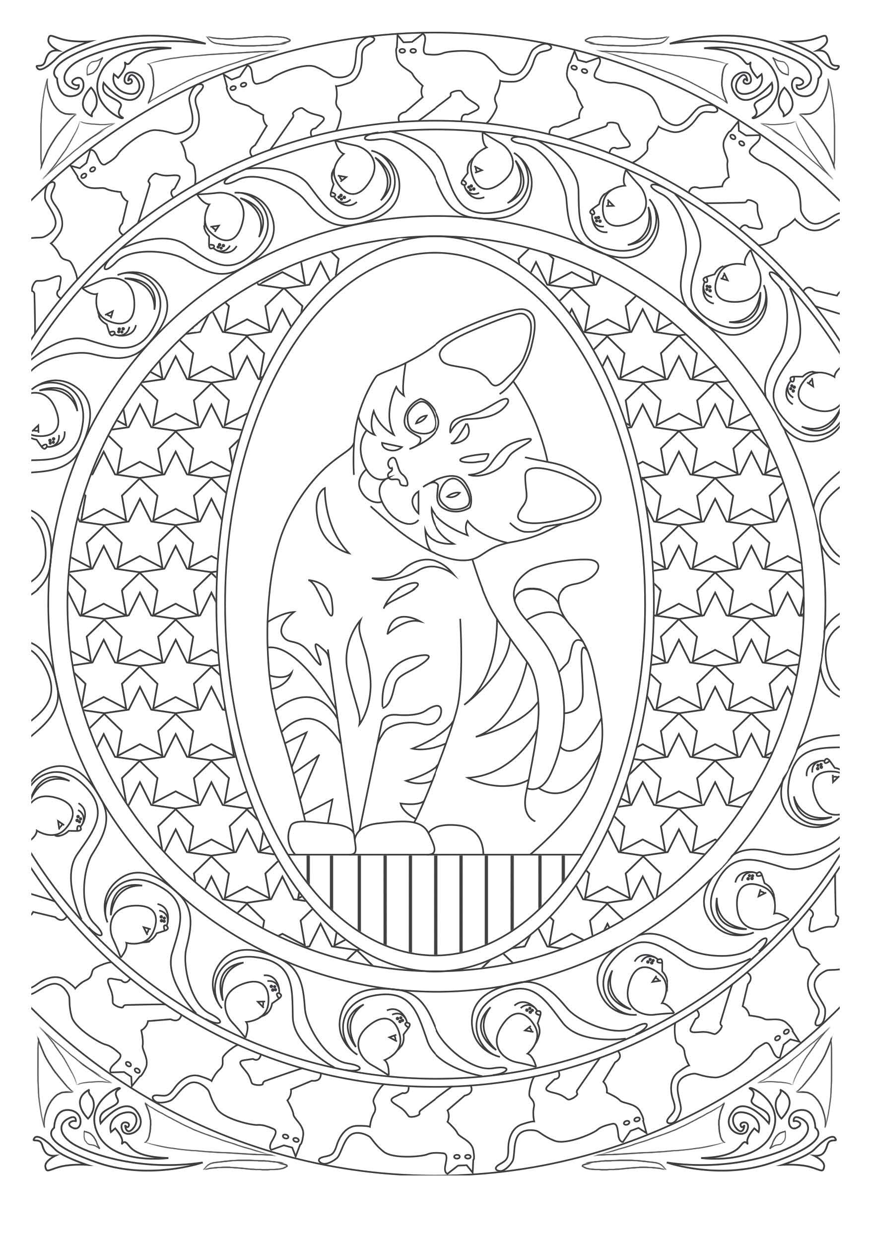 art therapy coloring pages cat - photo#16